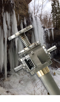 Stainless steel jack with icy background